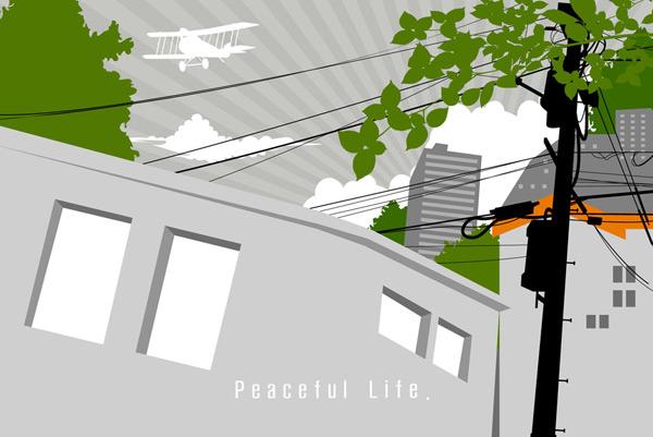 矢量素材,矢量图,剪影,建筑物,树木,树枝,电线,绿树,房子,房屋,放射背
