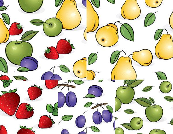 关键词: 水果平铺背景矢量素材,,草莓,青苹果,蓝莓,梨,雪梨,水果,叶子