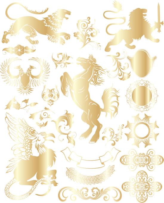 华丽欧式复古花纹矢量图,华丽花纹,欧式纹样,复古花纹,骏马,狮子