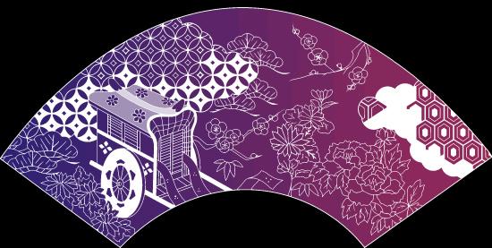中国传统线描图案矢量素材,扇形,中国元素,传统图案,马车,线描花朵
