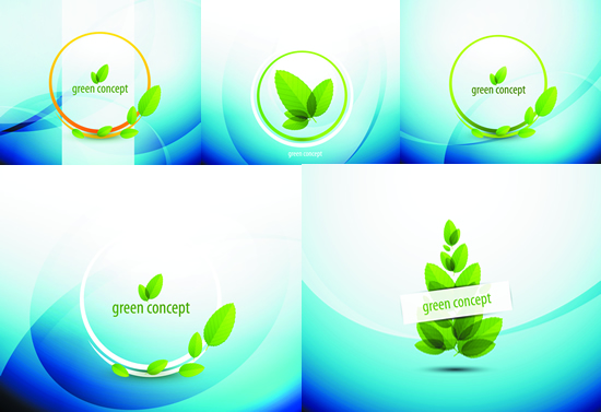 绿色树叶,渐变背景,绿叶,叶子,弧线,圆环边框,创意背景图片素材,免费
