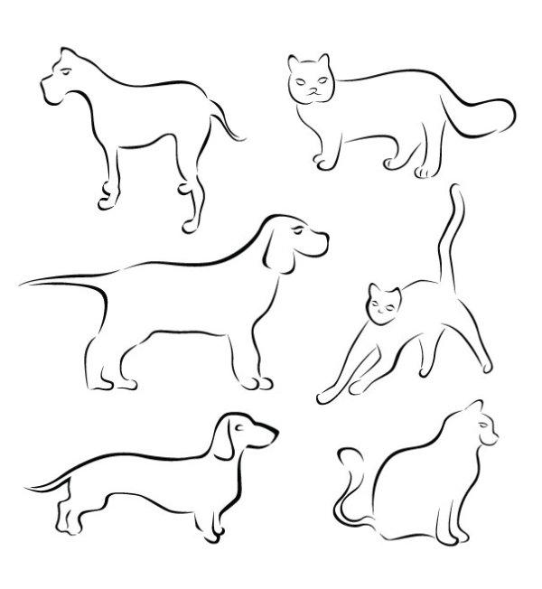 手绘线条猫狗