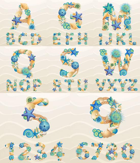 沙滩,海螺,贝壳,海星,海胆,麻绳,英文字母,数字,艺术字体图片素材
