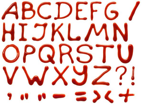 番茄酱手写字母