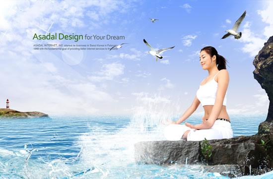 夏季瑜伽館海報圖片