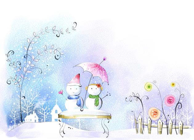 雪娃娃插画风景