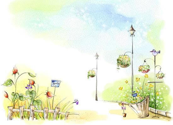 鲜花满园彩绘