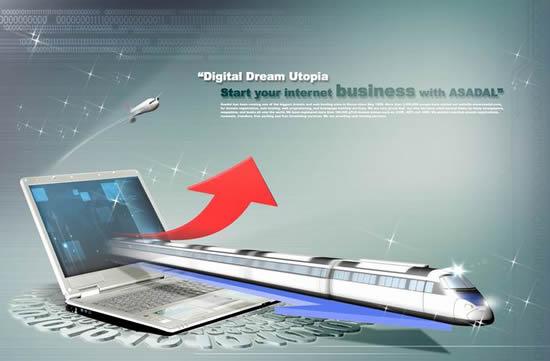 平面广告所需点数: 0 点 关键词: 天地比翼创意设计psd,高速火车