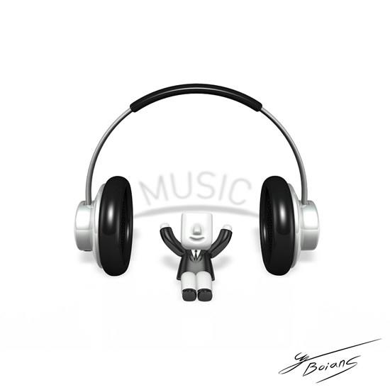3D小人与耳机