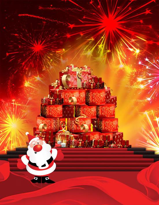 华丽礼盒,圣诞礼物,圣诞老人,烟花四射,喜庆圣诞节图片素材,免费圣诞图片