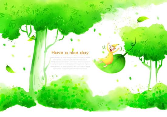 卡通绿色春天
