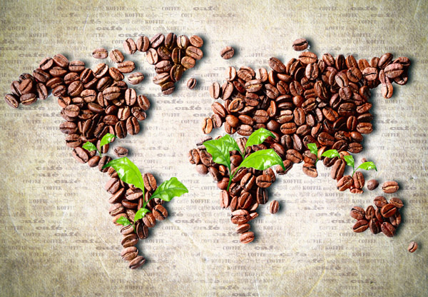 Coffee beans world map
