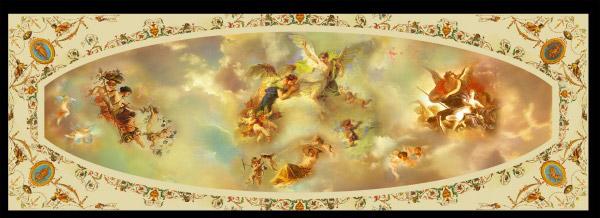 欧式天顶壁画源文件素材