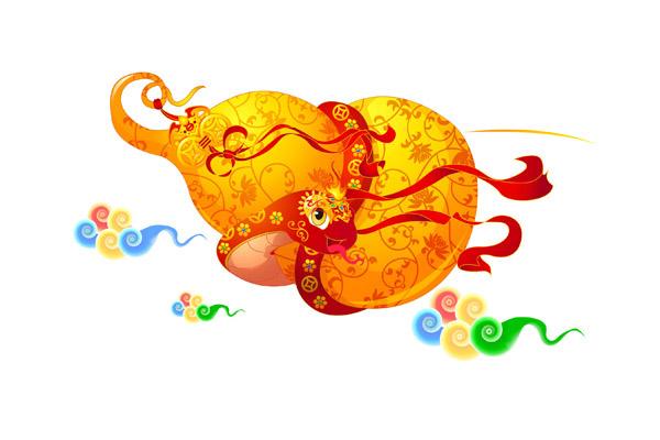 盘旋着葫芦的卡通蛇设计图片素材下载,手绘蛇,卡通蛇,蛇年,新年,可爱