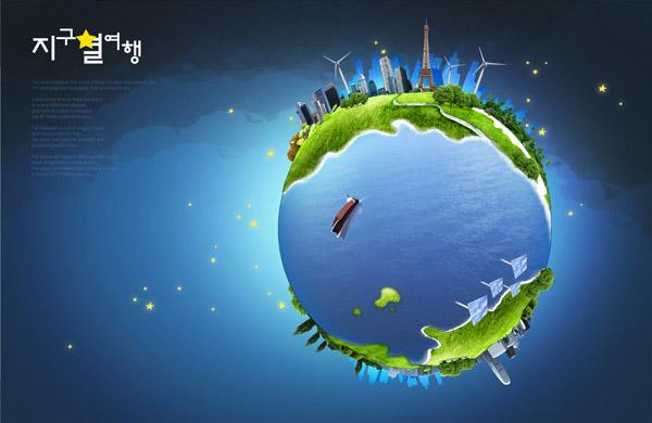 蓝色地球环保概念图片