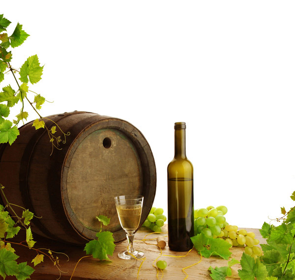 Oak barrel and wine bottle