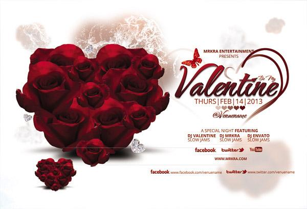 心形玫瑰花海报图片