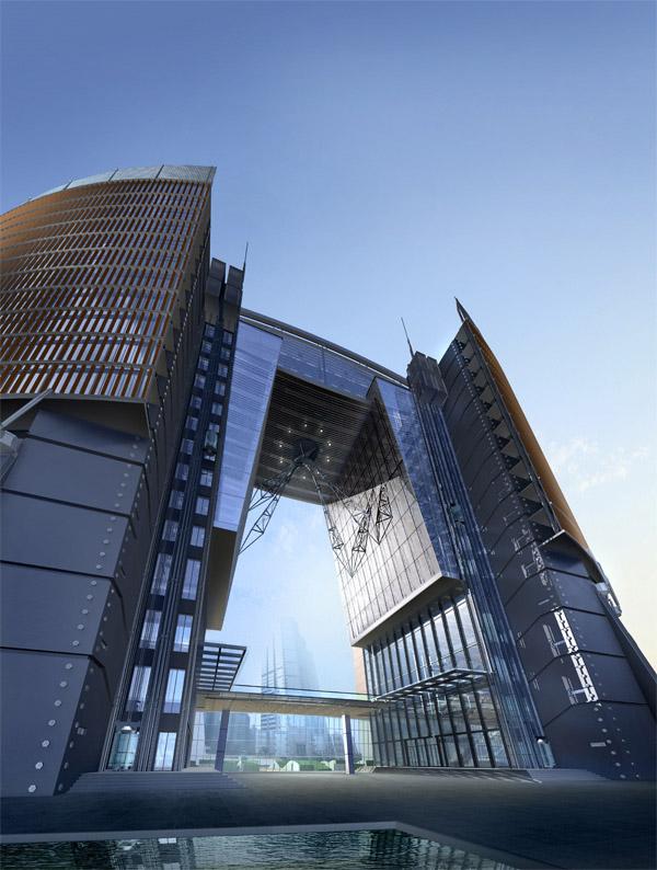 城市高层建筑物仰视图psd分层素材