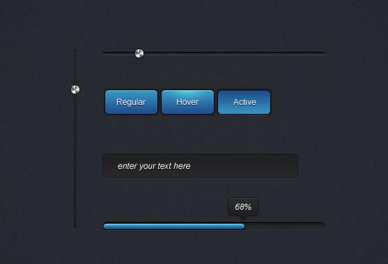 网页ui,深色u,iui设计,进度条,控制条,网页按钮,搜索框 下载文件特别