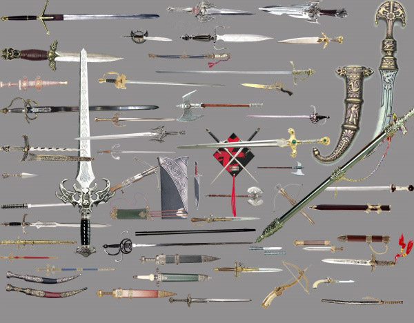 Various types of swords PSD