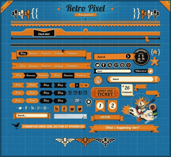 关键词: 橙色网页ui设计psd模,网页ui,ui设计,橙色ui,导航条,菜单栏图片