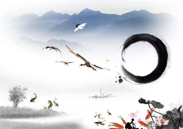 水墨画古典元素_素材中国sccnn.com