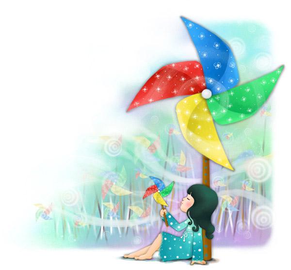背景,卡通,漫画,可爱,梦幻,儿童,孩子,女孩,童真,风车 下载文件特别