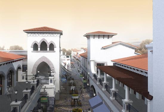 Business pedestrian street view