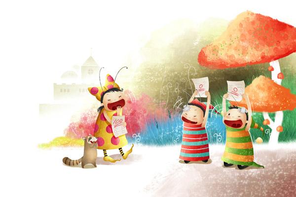儿童插画免费下载,蘑菇