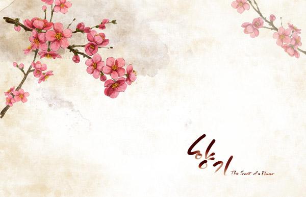 鲜艳唯美梅花树枝图案PSD分层素材下载,PSD分层素材,韩国素材,TUA,花朵,花卉,鲜花,颓废,怀旧,植物,背景,腊梅花,花枝,树枝,红花