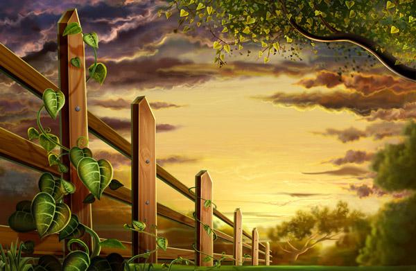 关键词: 郊外的黄昏下载,黄昏,郊外,木栅栏,树木,叶子,藤蔓,psd格式