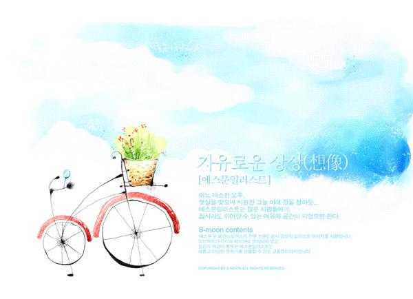 自行车手绘_素材中国sccnn.com