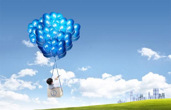 蓝气球与小男孩_素材中国sccnn.com