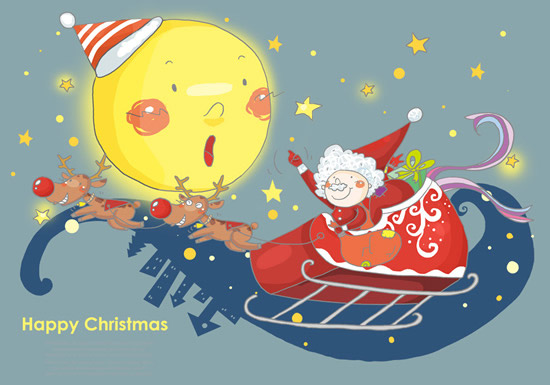 0 点 关键词: 卡通形象圣诞贺卡psd,雪橇飞车,麋鹿,卡通月亮,满天星.