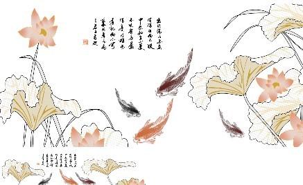荷花鱼水墨画_素材中国sccnn.com图片