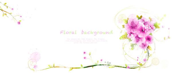 花朵藤蔓装饰背景_花纹边框