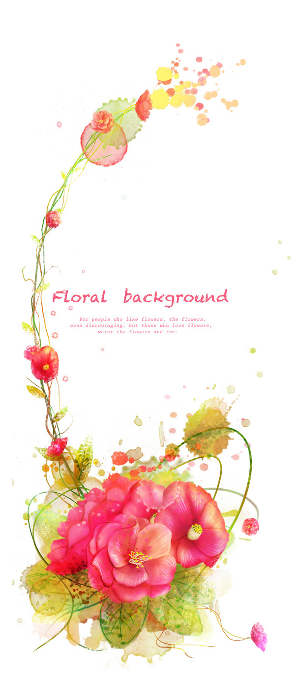 素材分类: 花纹边框所需点数: 0 点 关键词: 花朵藤蔓墨痕喷溅图案