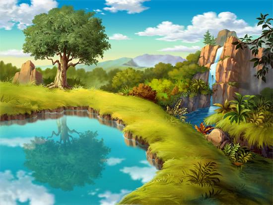 素材分类: 自然风景所需点数: 0 点 关键词: 手绘高山湖泊风景psd