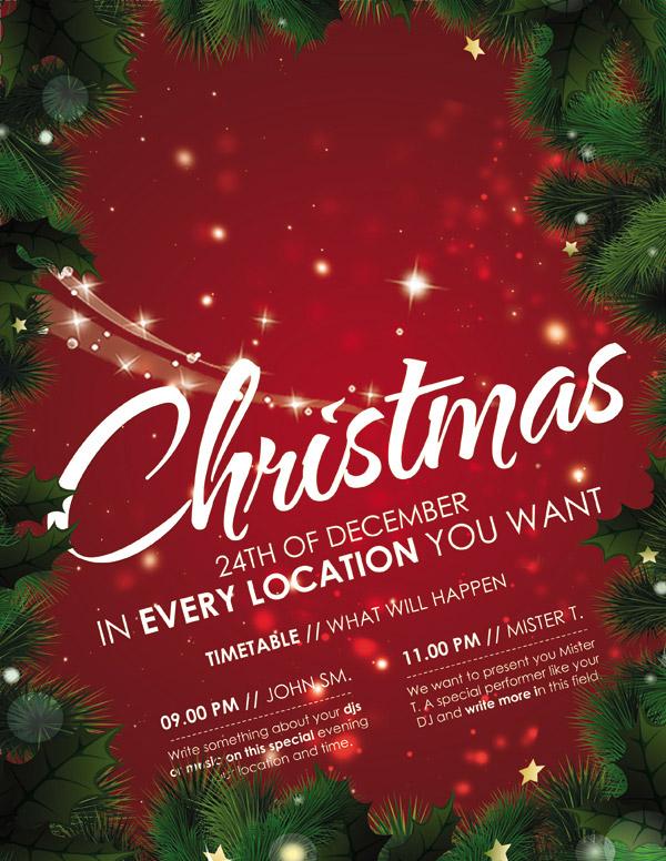 圣诞节所需点数: 0 点 关键词: 圣诞快乐海报,圣诞节,雪花,雪天,松树