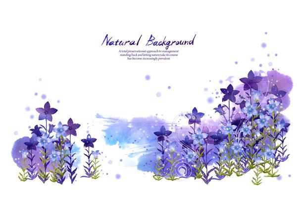 水墨紫色的花