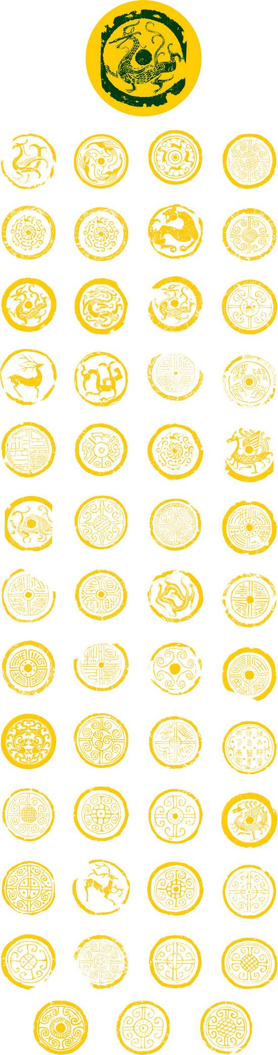 关键词: 中国龙文化龙形图腾psd,龙形图腾,圆形徽章,石刻图腾,中国龙