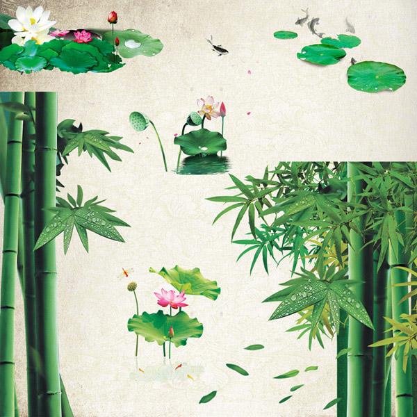 竹子和金鱼影视墙效果图大全