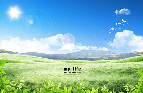 素材分类: 自然风景所需点数: 0 点 关键词: 草原美景psd分层素材,我