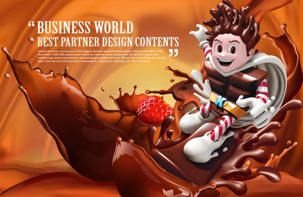 素材分类: 平面广告所需点数: 0 点 关键词: 3d卡通巧克力广告psd图片
