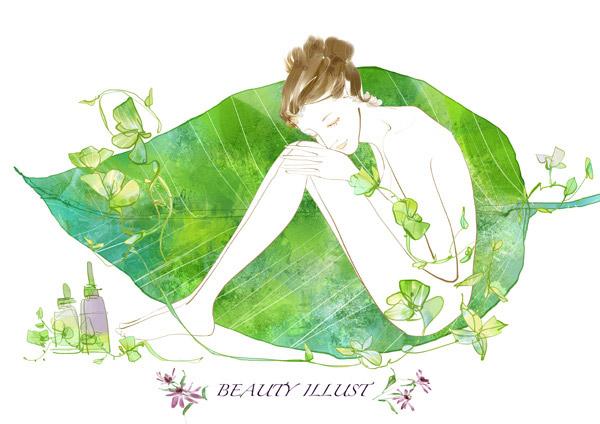插画手绘叶子小清新绿