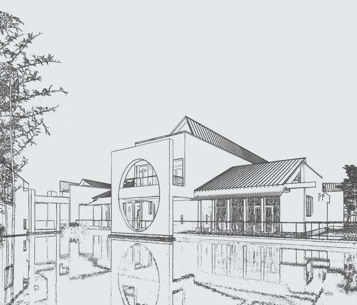 图psd分层模板手绘建筑建筑稿纸建筑设计图片素材