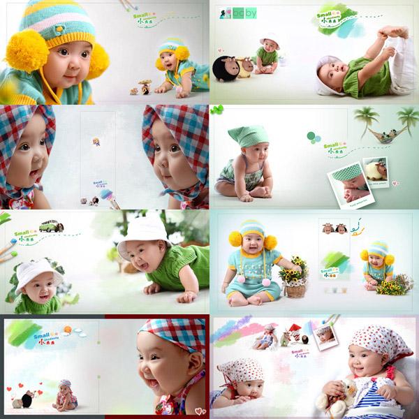 0 点 关键词: 萌宝宝儿童相册模板psd分层素材,小乖乖,可爱儿童相册