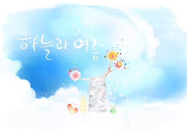韩国素材,tua,创意设计,插画,手绘,水彩,花朵,蓝天,白云,云朵,心形