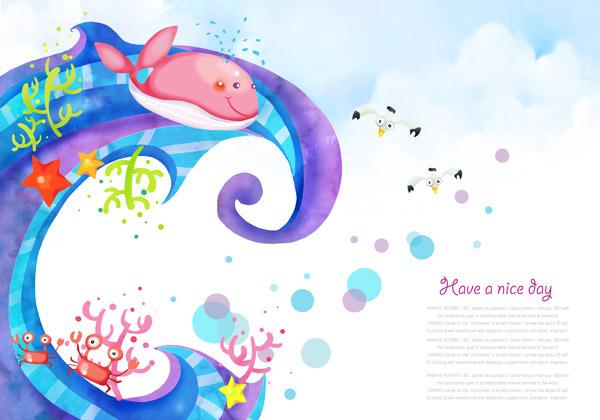 白底可爱鲸鱼壁纸