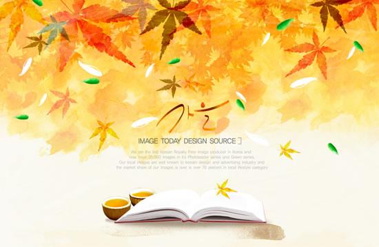 韩国手绘秋天意境背景psd素材